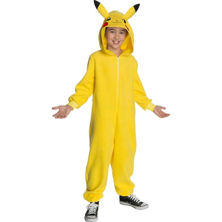 Pokemon Childrens Pikachu Hooded Jumpsuit Costume (Childrens Wolf Costumes)