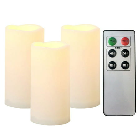 "Set of 3 Candle Choice Outdoor Indoor Pillar Flameless LED Battery Operated Candles with Remote and Timer Long Lasting Waterproof Realistic Flickering Electric Pillar Candles 3-Pack Size-3""(D)x6""(H) ()"