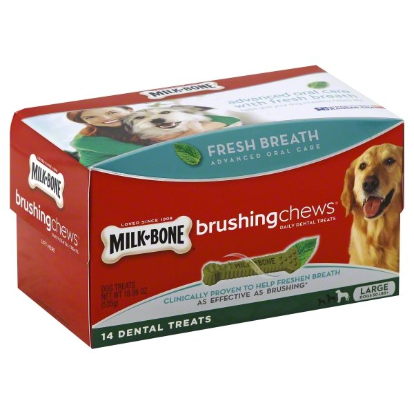 Milk-Bone Brushing Chews Daily Dental Treats - Large, 18.86-Ounce, 14 Bones