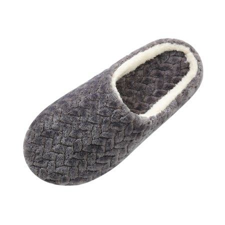 Uccdo Men's Womens Cotton Plush Warm Slippers Home Indoor Winter Shoes