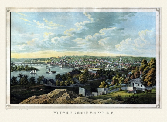 24x36 Vintage Reproduction Georgetown Washington DC King County 1855