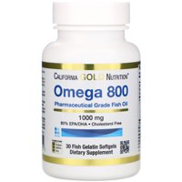 California Gold Nutrition  Omega 800 by Madre Labs  Pharmaceutical Grade Fish Oil  80  EPA DHA  Triglyceride Form  1 000 mg  30 Fish Gelatin Softgels