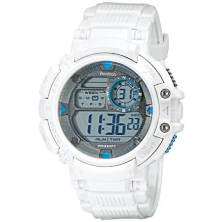 6970167e3 Armitron - Armitron Sport Men's 40/8346WHT Blue-Accented Digital  Chronograph White Resin Strap Watch - Walmart.com