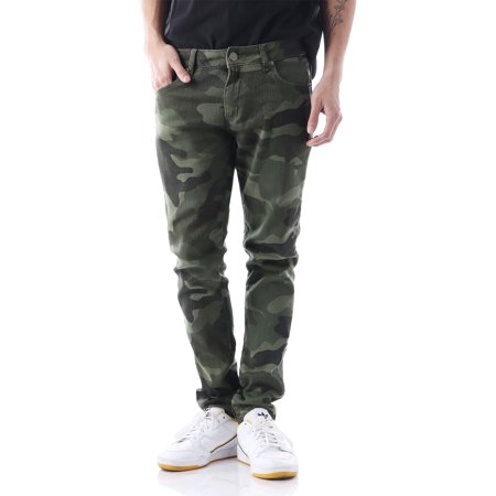 Mens Skinny Jeans Stretch Slim Fit Camo Denim Pants