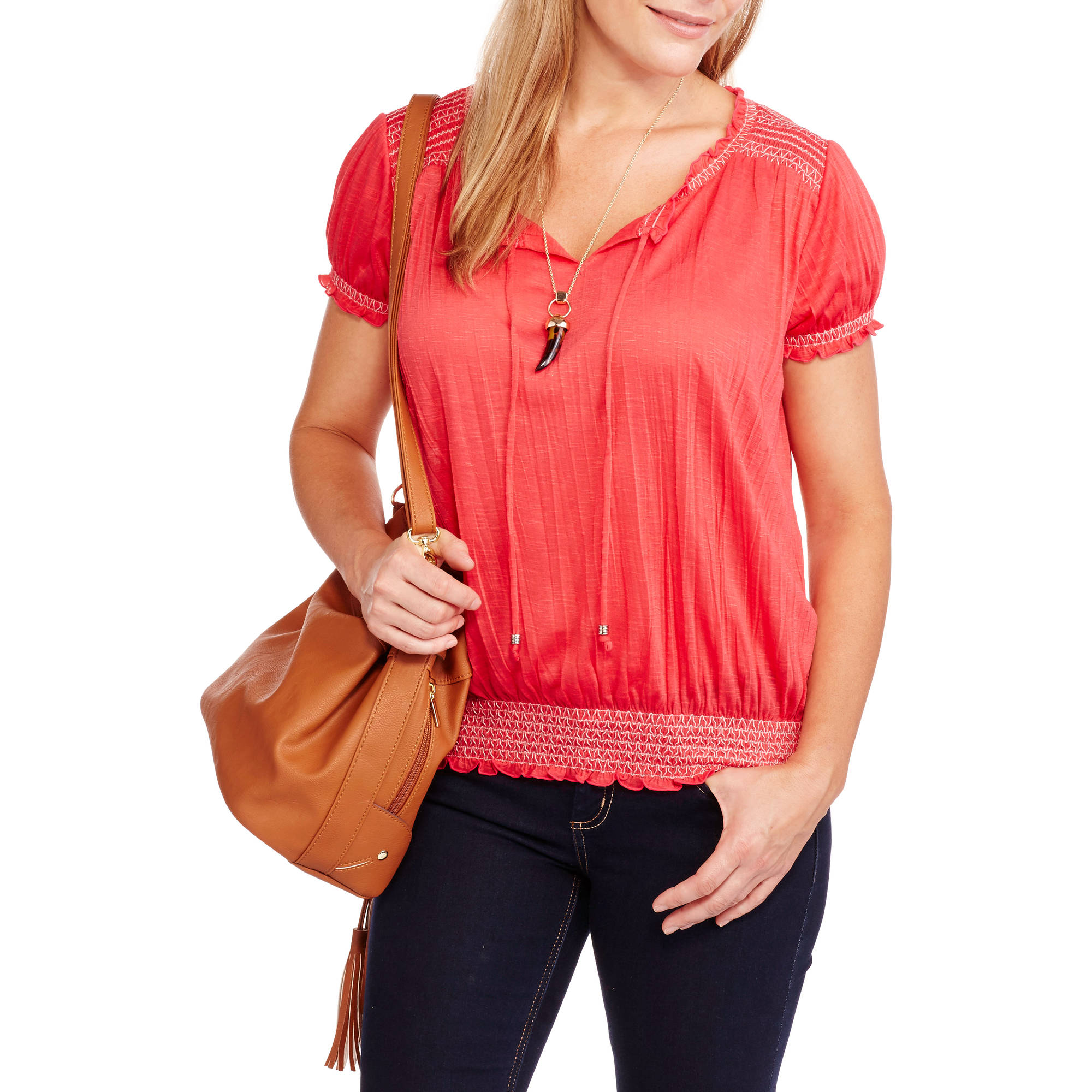 Faded Glory Womens Short Sleeve Peasant Top with Front Tassels and Elastic Waistband