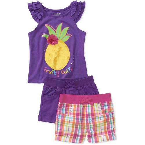 Garanimals Baby Girls 3 Piece Ruffle Tank and Shorts Set