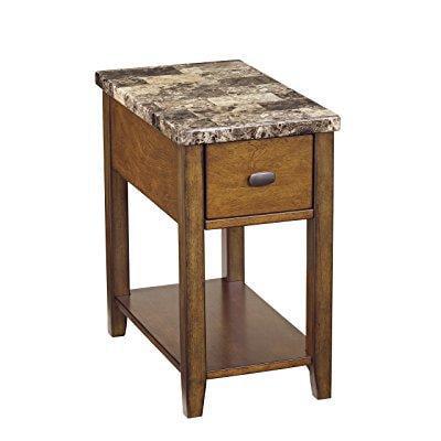 ashley furniture signature design - breegin contemporary chair side end table - rectangular - brown