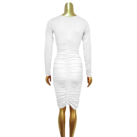 Hot Sale White Slim Women Round Neck Long Sleeve Evening Party Crinkle Sexy Dress - Cos Sale Dresses