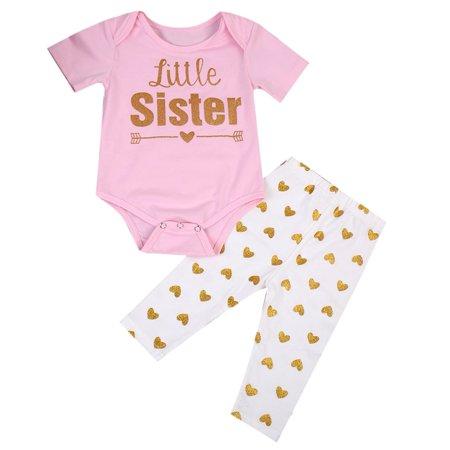 30e0039d3 XIAXAIXU - Newborn Infant Baby Girl Clothes Little Sister Print Romper  Jumpsuit + Long Pants 2PCS Outfits Set 0-6 Months - Walmart.com