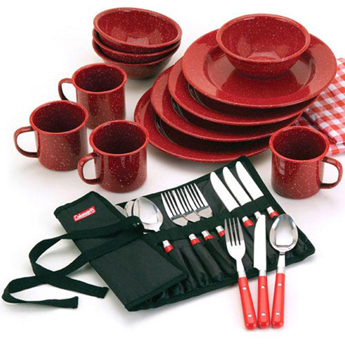Good Coleman 25 Piece Enamelware Dining Set With Stainless Steel Flatware