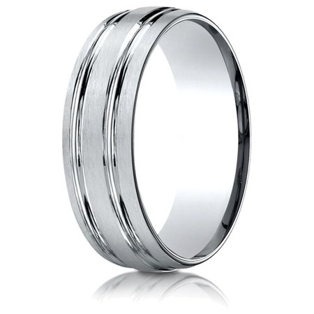 18k Gold 7mm Comfort-fit Satin-finished with Parallel Grooves Carved Design Band