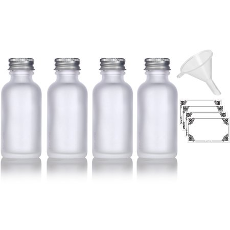 1 oz Frosted Clear Glass Boston Round Silver Screw On Cap Bottle (4 pack) + Funnel and Labels for cosmetics, serums, essential oils, aromatherapy, food grade, bpa
