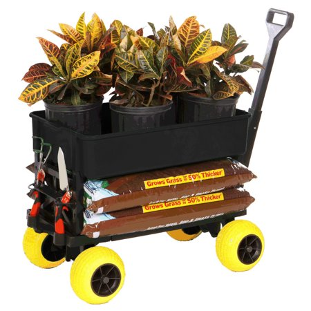 Garden Cart Wagon Hand-Pulled Carts and Wagons Utility Trolley Rolling Yard Dump Cart Haul Gardening Equipment Soil Fertilizer Grocery Use as Plant Caddy Dolly Gift Idea for Gardener Mom Dad Him Her
