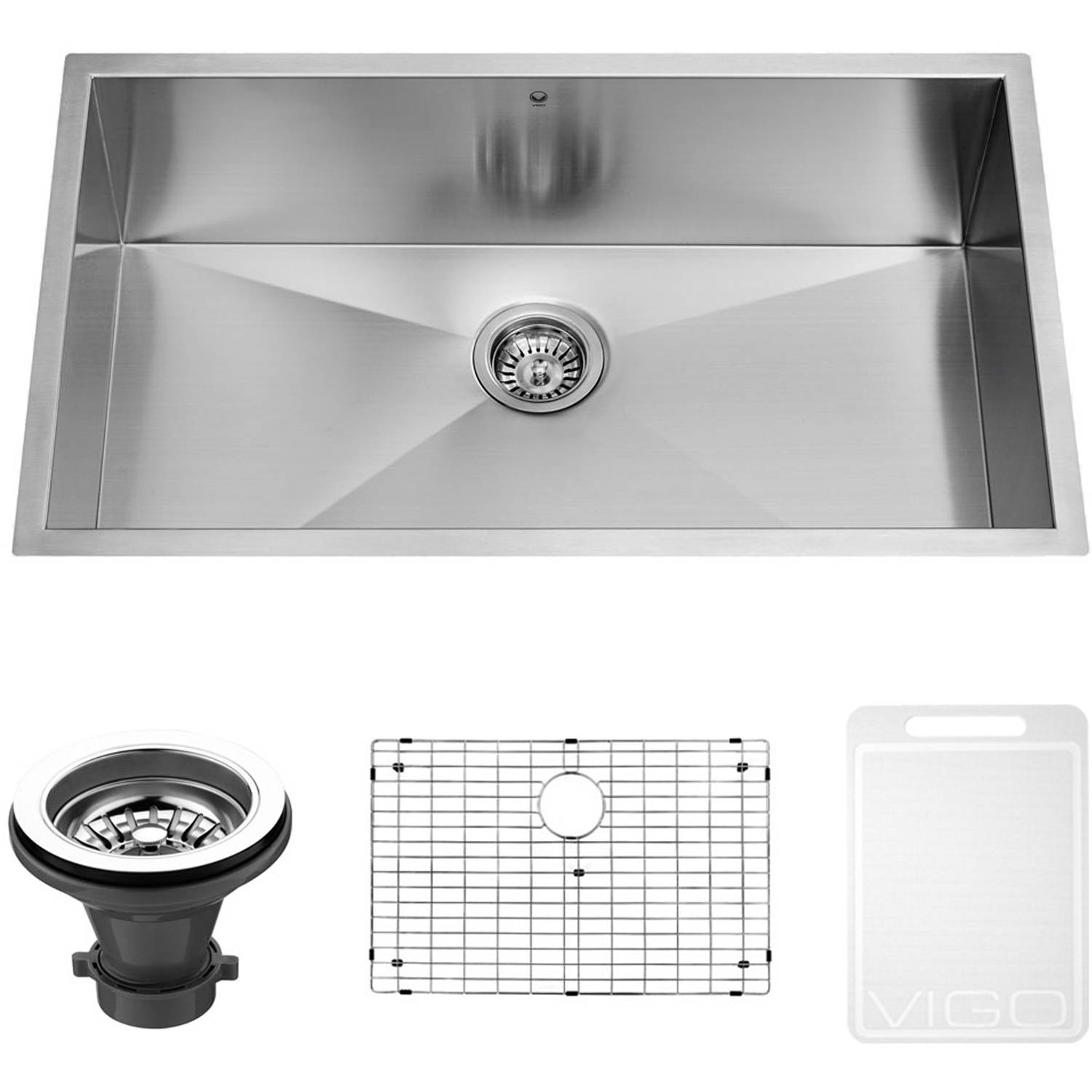 "Vigo 32"" Undermount Stainless Steel Kitchen Sink, Grid and Strainer"