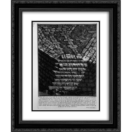 Giovanni Battista Piranesi 2X Matted 20X24 Black Ornate Framed Art Print The Roman Antiquities  T  4  Plate Xiv  View Of Bridge St  Angel  From The Castle Towards The Road Of Banks