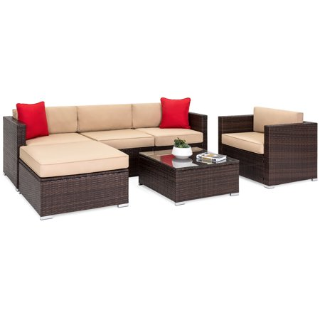 Best Choice Products 6-Piece Outdoor Patio Sectional Wicker Furniture Set with Sofa, Seat Cushions, Accent Chair, Ottoman, Glass Coffee Table and 2 Red Pillows for Backyard, Pool, Garden,