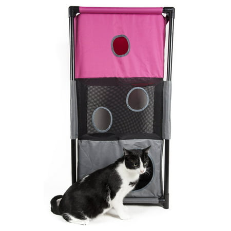 Pet Life Kitty-Square Obstacle Soft Folding Sturdy Play-Active Travel Collapsible Travel Pet Cat House -