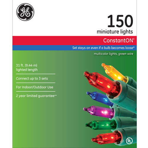GE ConstantON Multi-Color Christmas Lights, 150 Count