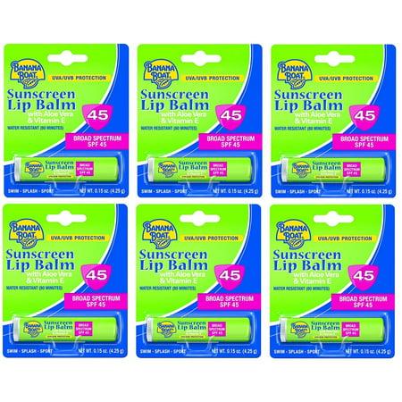 - Banana Boat with Aloe Vera and Vitamin E UVA/UVB Protection Sunscreen Lip Balm, Broad Spectrum SPF 45, 0.15 Oz (Pack of 6)