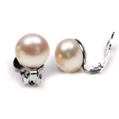 - Pale Pink Freshwater Cultured Pearl Clip On Ball Stud Earrings For Women 925 Sterling Silver Non Pierced Ear