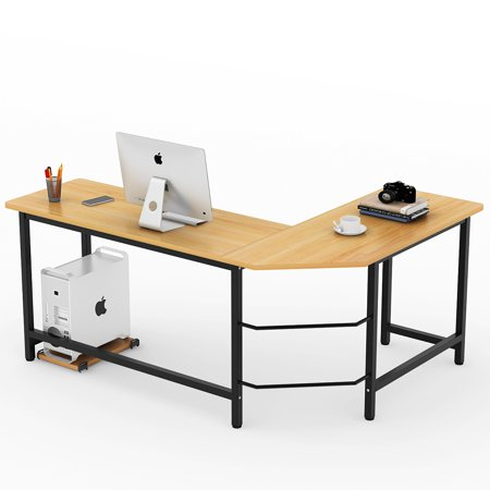 Tribesigns Modern L Shaped Desk Corner Computer Pc Laptop Study Table Workstation Home Office Wood Metal Walnut Black Leg