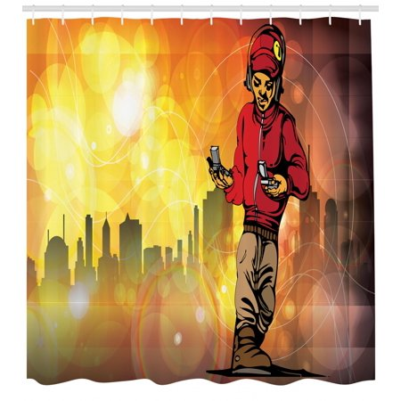 Hip Hop Shower Curtain Rap Music And Dance Themed Image With A Rapper Guy