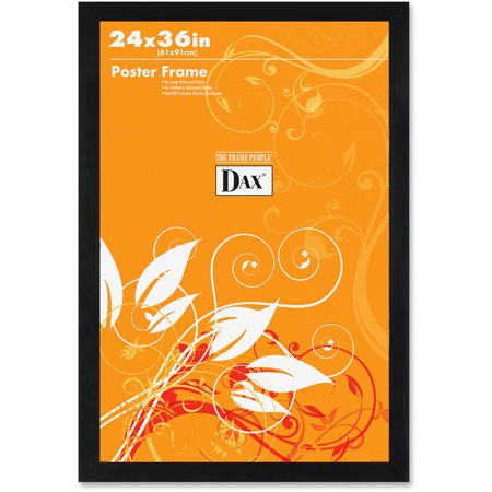 DAX Flat Face Wood Poster Frame, Clear Plastic Window, 24 x 36, Black Border (Wood Window Frame)