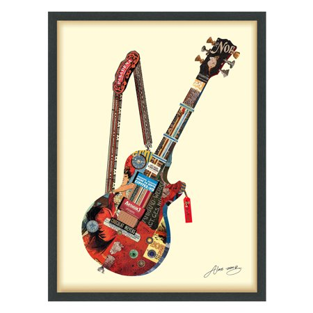 Empire Art Direct Empire Art 'Electric Guitar' Hand Made Signed Art Collage by EAD Artists Co-op under Tempered Glass in Black Frame - Hand Signed Buffalo