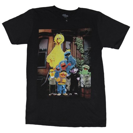 Sesame Street  Mens T-Shirt - 8 Muppet Photo Big Bird Bert Ernie Count Elmo (Bert And Ernie Halloween Costumes For Adults)