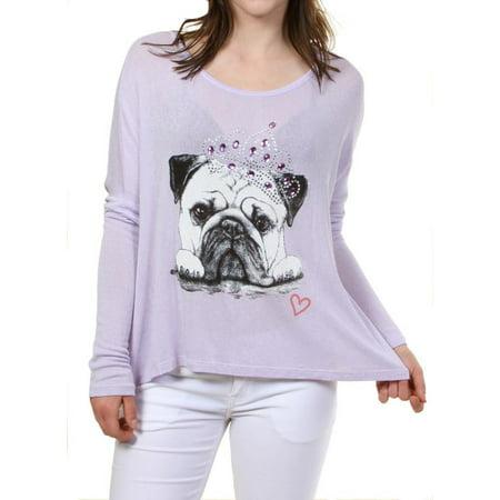 Fashion House LA Women's Pug Dog Princess Tiara Rhinestone Embellished Graphic Print Long Sleeve Pullover Sweater Sweatshirt Top Lavender Small