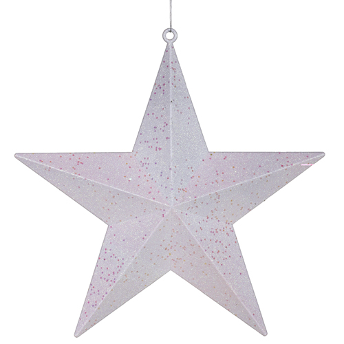 """Classical White with Matching Iridescent Glitter Christmas Star Ornament 8"""""""