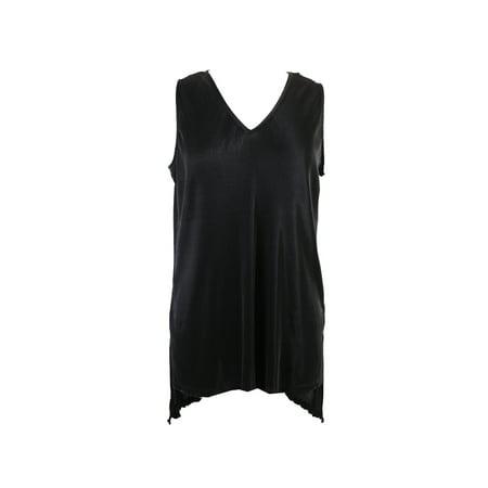 Alfani Black Sleeveless V-Neck Pleated Top - Black Sleeveless V-neck