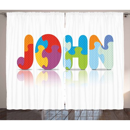 John Curtains 2 Panels Set, Ancestral Children Name with Medieval Origins Nursery Themed Puzzle Preschool Design, Window Drapes for Living Room Bedroom, 108W X 96L Inches, Multicolor, by Ambesonne