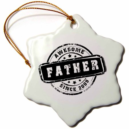 3dRose Awesome Father since 2009 year of birth of first born child stamp - Worlds greatest dad - best daddy, Snowflake Ornament, Porcelain, (Best Porcelain In The World)