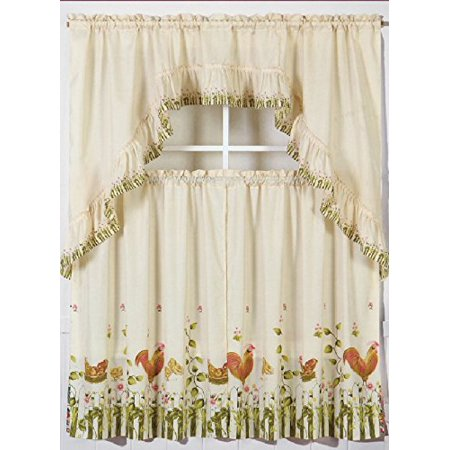 3pc Rooster 1 Kitchen Window Ruffle Rod Tier Curtains