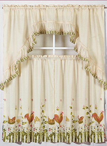 3pc rooster 1 kitchen window ruffle rod tier curtains swag valance set drape treatment - Tier Curtains