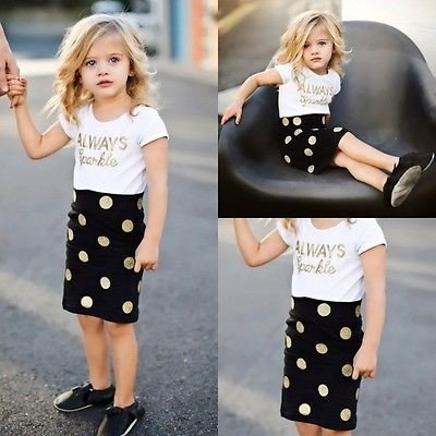 Baby 2Pcs Skirt Set   Vogue Kids Baby Girls Summer Outfits Clothes Letter Printed Short Sleeve Tops Short Dot Skirt