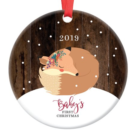 Baby Fox First Christmas Ornament 2019, Fox Baby Girl 1st Christmas Porcelain Ornament, Woodland Animal 3