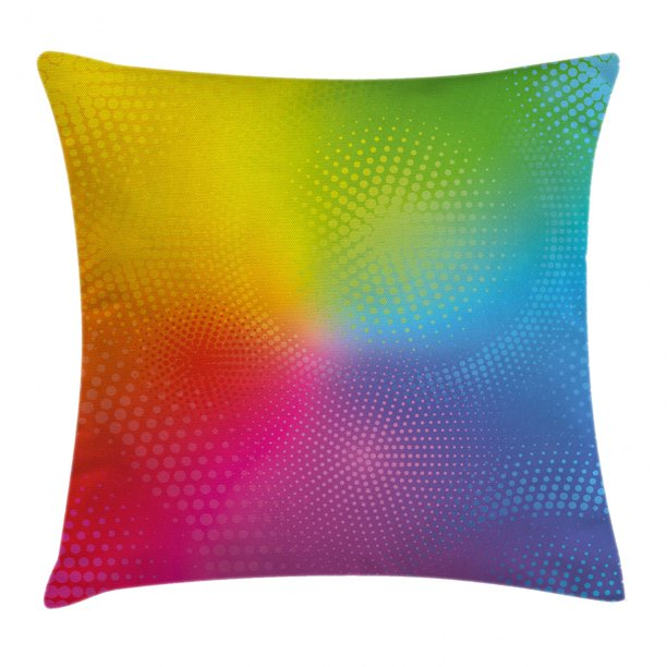 Rainbow Throw Pillow Cushion Cover Vibrant Neon Colors Circles Rounds Dots Radiant Composition Iridescent Effect Print Decorative Square Accent Pillow Case 24 X 24 Inches Multicolor By Ambesonne Walmart Com Walmart Com