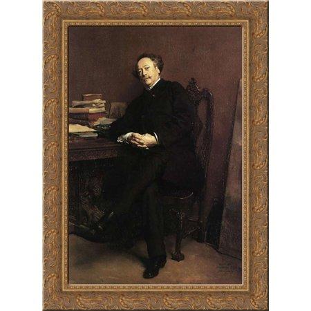 Portrait of Alexandre Dumas, Jr 19x24 Gold Ornate Wood Framed Canvas Art by Meissonier, Jean Louis (Dumas Wood)