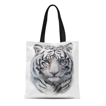 NUDECOR Canvas Bag Resuable Tote Grocery Shopping Bags Watercolor Painting the Head of White Tiger Tote Bag - image 1 de 1