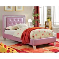 Furniture of America Hilary Full Tufted Faux Leather Platform Bed in Purple