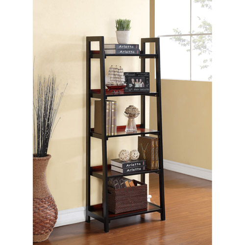 Linon Camden 5-Shelf Bookcase, Black Cherry, 60 Inches Tall