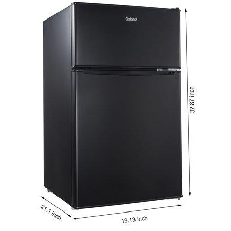 Best Galanz 3.1 cu ft Compact Refrigerator Double Door, Black deal