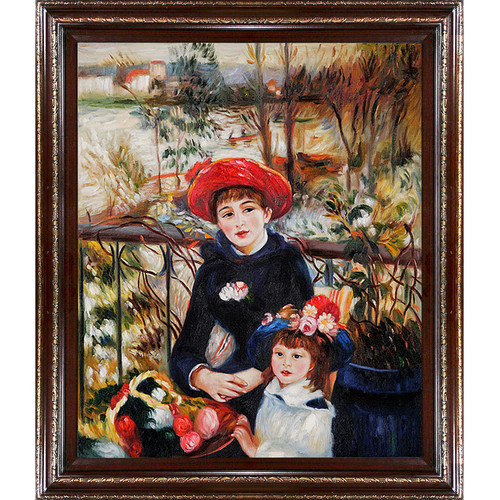 Wildon Home  Two Sisters (On the Terrace), 1881 by Pierre Auguste Renoir  Framed Original Painting