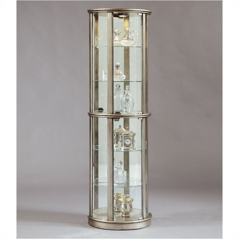Bowery Hill Glass Door Curio in Silver