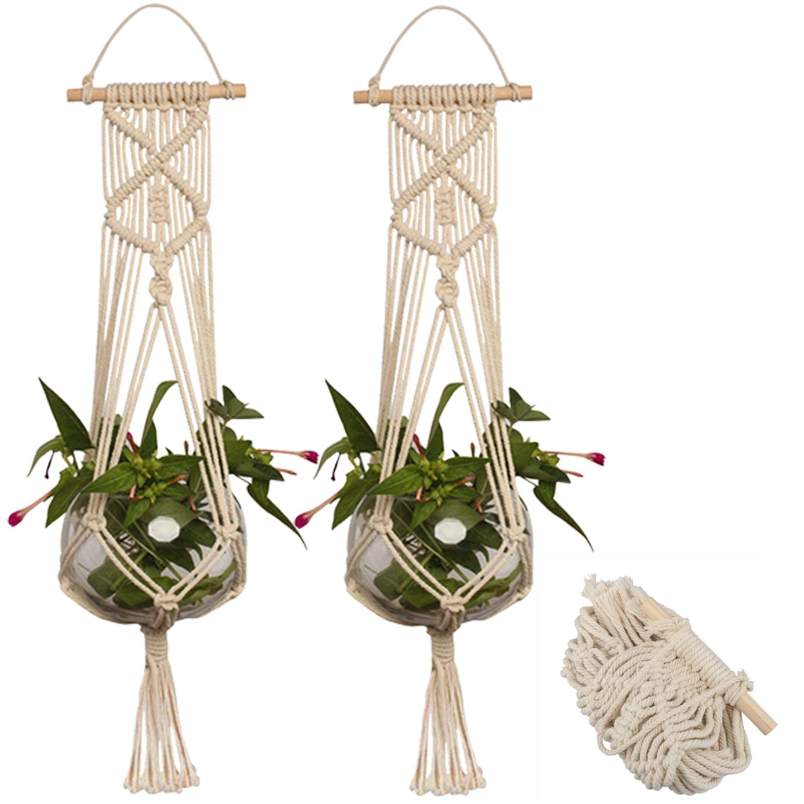 2 Pack Macrame Plant Hanger Indoor Outdoor Hanging Planter Basket