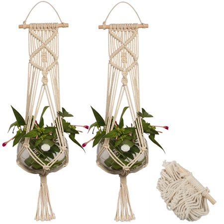 2-pack Macrame Plant Hanger Indoor Outdoor Hanging Planter Basket Jute Cotton Rope Braided Craft, 4 Legs 37 Inch - Macrame Plant Hanger Diy