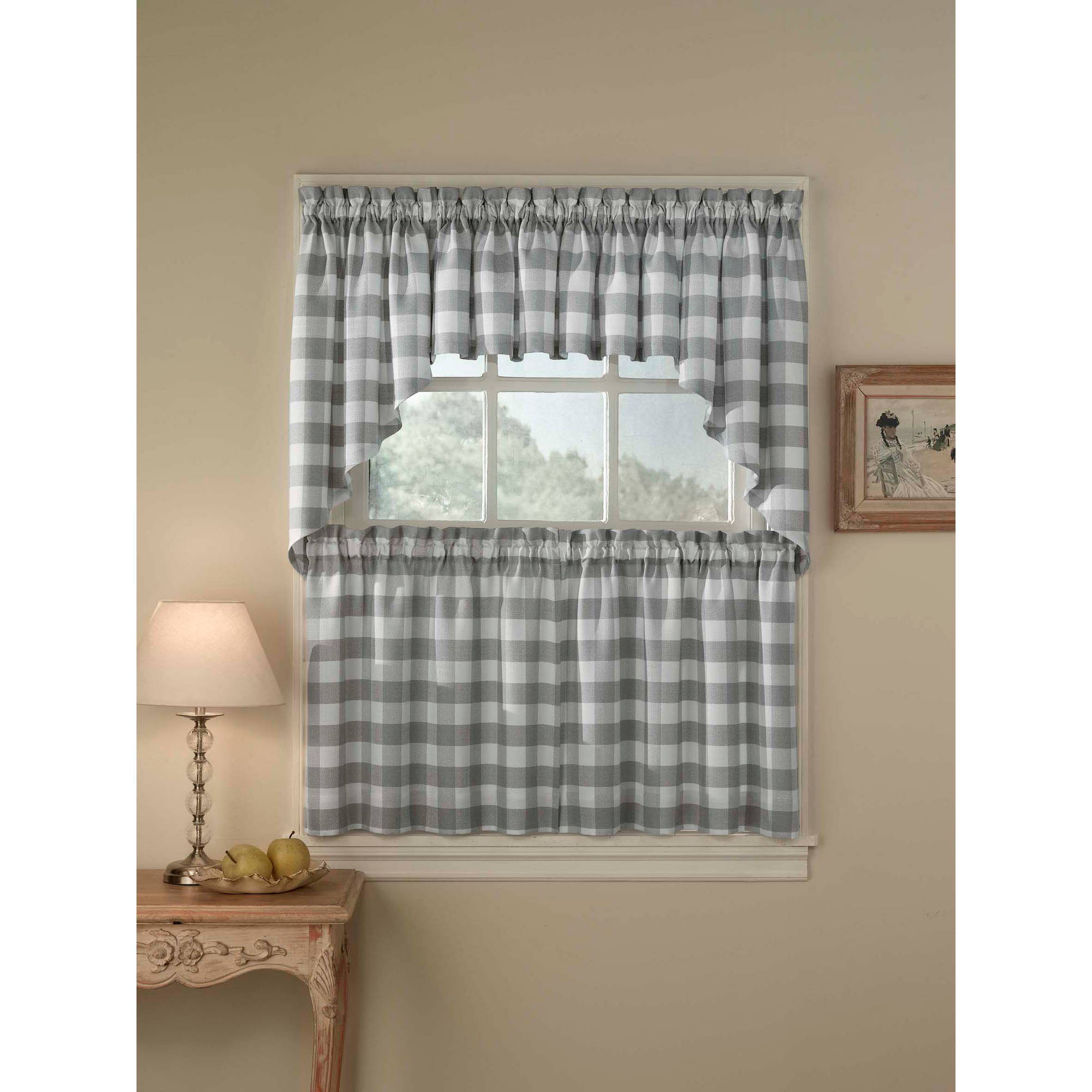 CHF & You Rowan Plaid Tailored Tier Curtain Panel, Set of 2