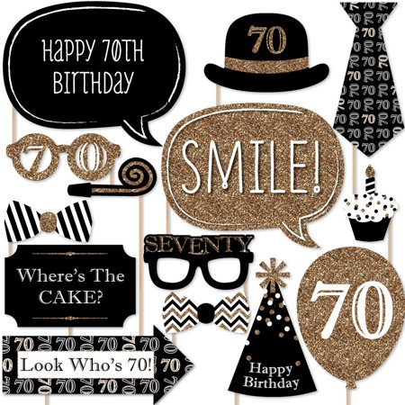 Adult 70th Birthday - Gold - Birthday Party Photo Booth Props Kit - 20 Count - Ideas For A 70th Birthday
